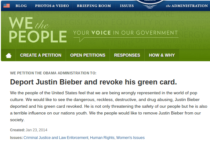 Screenshot of We the People Petition