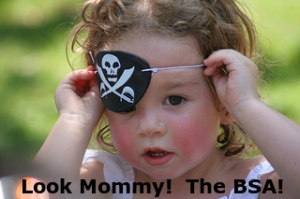 "Little girl with an eye patch with a caption, ""Look Mommy!  The BSA!"