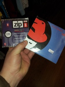 An unopened Zip disk and Red Hat 5.2