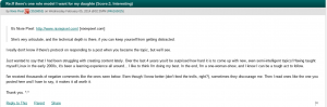 Screenshot of Nixie Pixel's comment on Slashdot defending herself against negative comments and appreciating positive feedback.