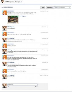 Screenshot of a private conversation between an offended user and a WTF Magazine page admin.