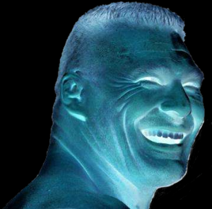 Brock Lesnar laughing; colors inverted.