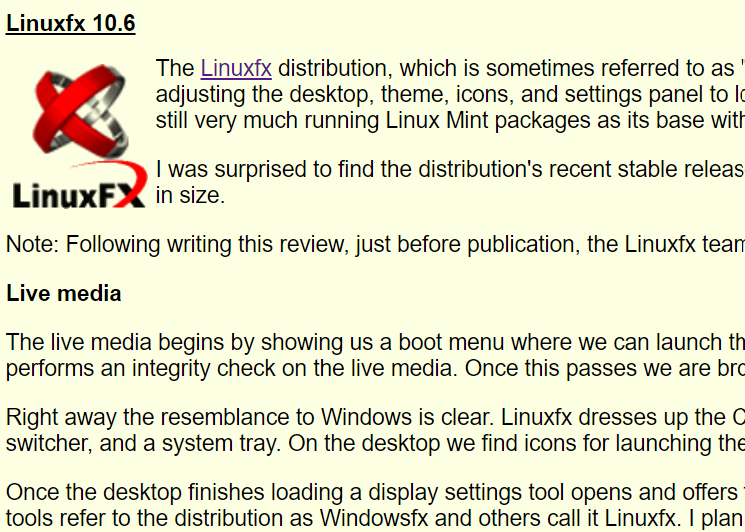 Preview of Distrowatch Weekly reviewing LinuxFX.